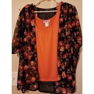 Tops - Kimono and tank top set